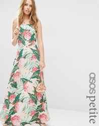 Asos Petite Printed Tie Back A Line Maxi Dress Multi