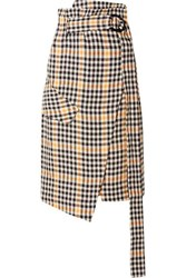 Petar Petrov Ryan Belted Checked Linen Wrap Skirt Yellow
