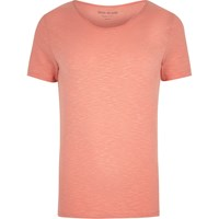 River Island Orange Scoop Neck Muscle Fit T Shirt