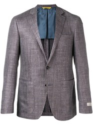 Canali Checkered Single Breasted Blazer Grey
