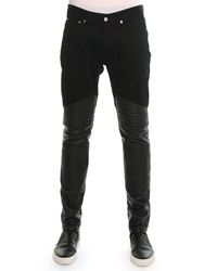 Givenchy Denim Pants With Leather Trim Black