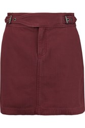 Marc By Marc Jacobs Buckled Cotton Mini Skirt Burgundy