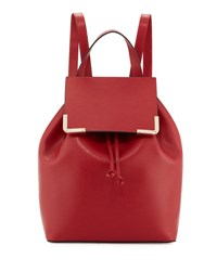Neiman Marcus Saffiano Flap Drawstring Backpack Dark Red