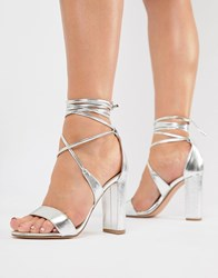 9fe680da3e0 True Decadence Silver Ankle Tie Block Heeled Sandals Silver Metallic