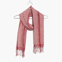Madewell Gingham Check Scarf Red Cream