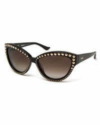 Moschino Beaded Gradient Cat Eye Sunglasses Black Gold Black Gold