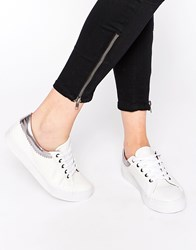 Asos Dante Lace Up Trainers Whitepewter