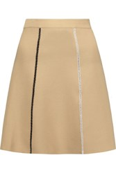 Sandro Jesna Embroidered Crepe Mini Skirt Beige