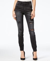 Guess 1981 Ripped Black Wash Skinny Jeans Washed Black
