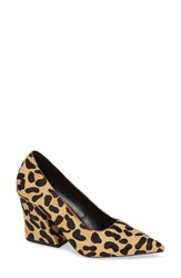 Topshop Ginny Flare Genuine Calf Hair Block Court Shoe Leopard Calf Hair