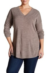 Sweet Romeo Ribbed V Neck Sweater Plus Size Brown