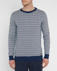 Knowledge Cotton Apparel Blue Diamond Pattern Round Neck Sweater