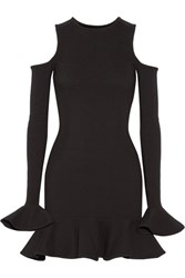 Michael Lo Sordo Cutout Ruffled Stretch Knit Mini Dress Black