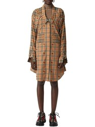 Burberry Checked Cotton Poplin Shirt Dress Beige