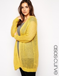 Asos Curve Premium Cardigan In Open Stitch In Mohair Mustard