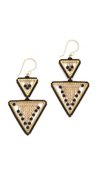 Miguel Ases Onyx Triangle Earrings Gold Black