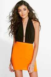 Boohoo Colour Block Bodycon Mini Skirt Mandarin