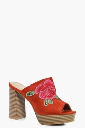 Boohoo Floral Embroidered Mule Rust