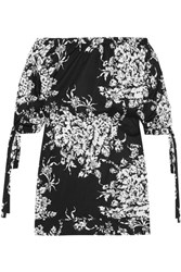 Sonia Rykiel Off The Shoulder Floral Print Cotton Mini Dress Black