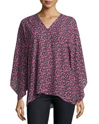 Michael Kors Collection Long Sleeve Floral Print Tunic Indigo Geranium Women's