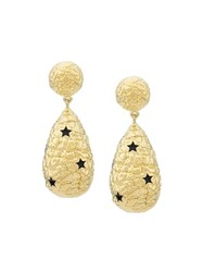 Eshvi Star Embellished Pendant Earrings Yellow