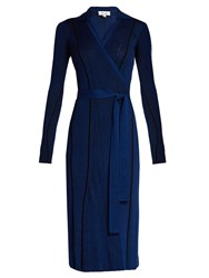 Diane Von Furstenberg Striped Ribbed Knit Dress Blue