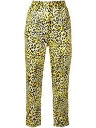 Baum Und Pferdgarten Leopard Print High Waisted Trousers Yellow