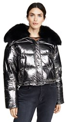 Army By Yves Salomon Doudoune Fox Lined Puffer Gume Noir