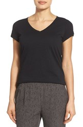 Petite Women's Eileen Fisher Organic Cotton V Neck Short Sleeve Tee Black