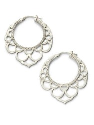 John Hardy Naga Sterling Silver Medium Lace Hoop Earrings 1.6