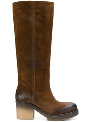Fausto Zenga Calf Boots Women Leather Nubuck Leather Rubber 39.5 Brown