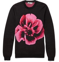 Mcq By Alexander Mcqueen Rose Intarsia Wool And Cotton Blend Sweater Black