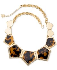 Guess Gold Tone Faux Tortoiseshell Inlay Geometric Statement Necklace