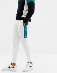 Nicce London Skinny Joggers In White Colour Block
