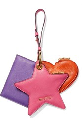 Miu Miu Set Of Three Textured Leather Coin Purses Fuchsia