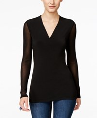 Inc International Concepts Petite Illusion Sleeve V Neck Blouse Only At Macy's Deep Black