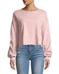 Romeo And Juliet Couture Cropped Balloon Sleeve Sweatshirt Medium Pink