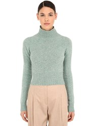 Victoria Beckham Cropped Wool Knit Sweater Light Blue