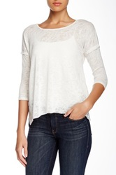 Hip Lace Inset Lightweight Pullover Sweater Juniors White