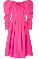 Rejina Pyo Carla Pleated Crepe Midi Dress Fuchsia