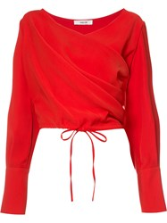Adeam Draped Wrap Blouse Women Polyester Xs Red