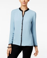 Alfani Faux Leather Trim Blouse Only At Macy's Light Blue