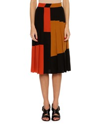 Bottega Veneta Pleated Colorblock Crepe De Chine Skirt Multi