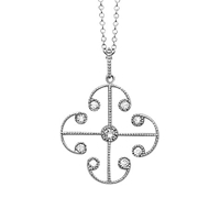 London Road 9Ct White Gold Diamond Lattice Pendant