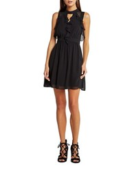 Bcbgeneration Sleeveless Ruffled Front A Line Dress Black