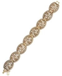 Lucky Brand Gold Tone Flower And Lace Link Bracelet