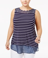 Belldini Plus Size Striped Chiffon Hem Tank Top Navy White