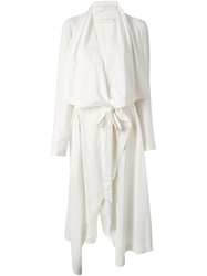 Isabel Benenato Draped Belted Coat White