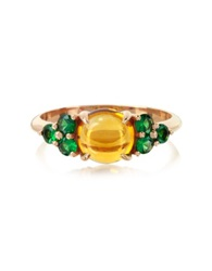 Mia And Beverly Citrine Quartz And Sapphires 18K Rose Gold Ring Yellow