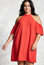 Forever 21 Plus Size Open Shoulder Dress Red